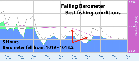 The weather effect pt 1 barometric pressure social fishing for Barometric pressure forecast for fishing
